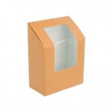 Boite wrap en papier kraft avec fenetre transparent  l9,2 × l5,1 × h9,2 cm x500